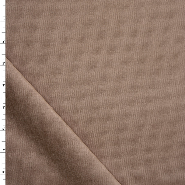 Khaki Stretch Corded Cotton Velvet Fabric By The Yard