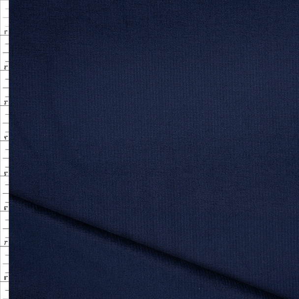 Navy Blue Stretch Corded Cotton Velvet Fabric By The Yard