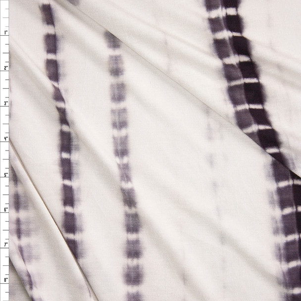 Charcoal Vertical Streaks on Warm White Rayon Stretch Jersey Knit Fabric By The Yard