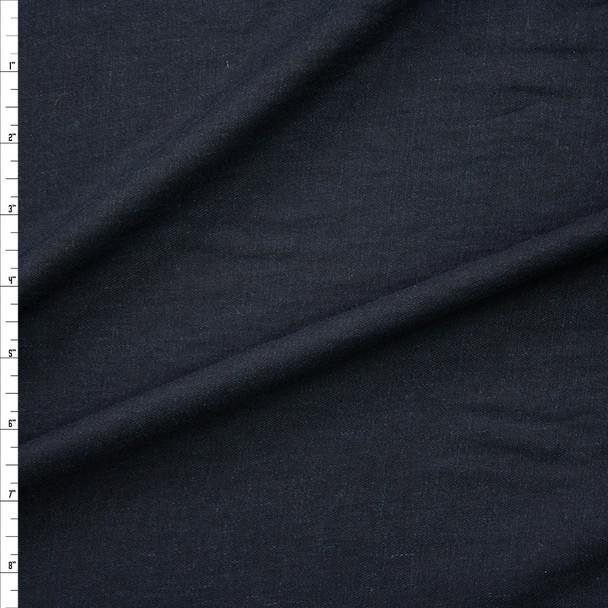 Dark Navy Rayon/Linen Blend Lightweight Twill Fabric By The Yard