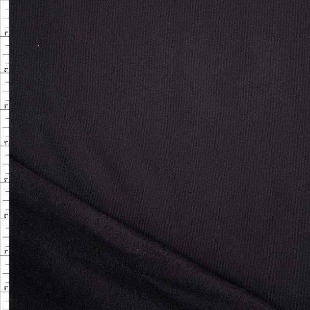 Black Midweight Designer Sweatshirt Fleece Fabric By The Yard