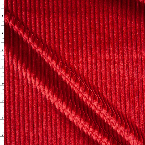 Red Corded Stretch Velvet Fabric By The Yard