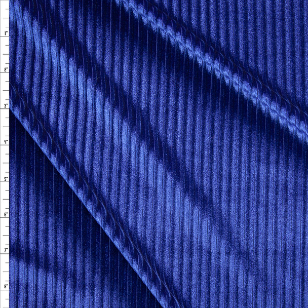 Royal Corded Stretch Velvet Fabric By The Yard