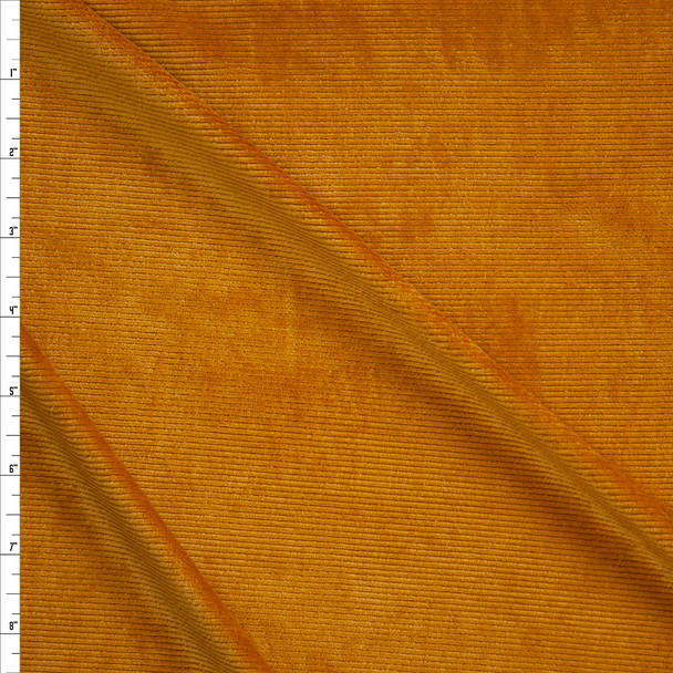 Mustard Soft Micro Corded Stretch Velvet Fabric By The Yard