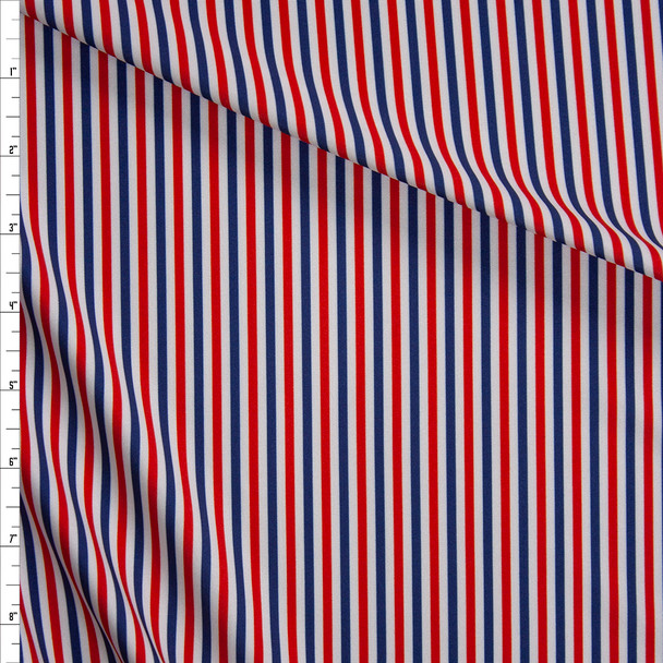Red, White, and Blue Stripe Designer Nylon/Spandex Fabric By The Yard