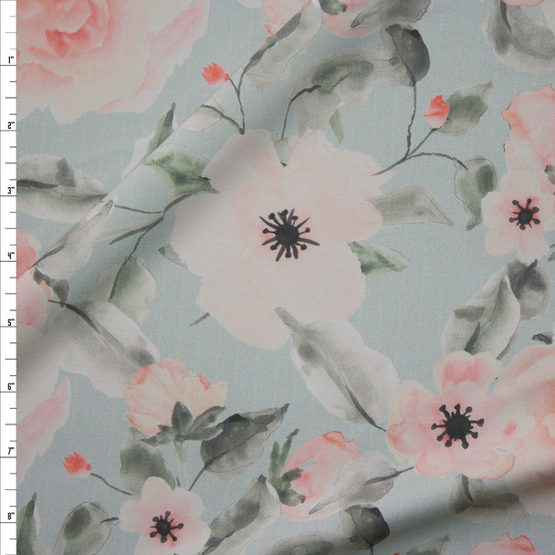 Blush and Pale Seafoam Watercolor Floral Designer Nylon/Spandex Fabric By The Yard