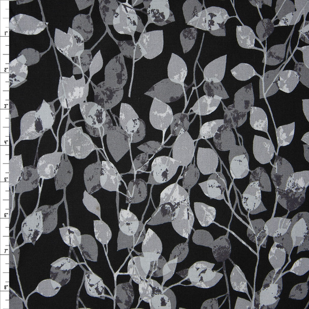 Via Grey on Black Vines Quilter's Cotton Print from Boundless Fabrics Fabric By The Yard