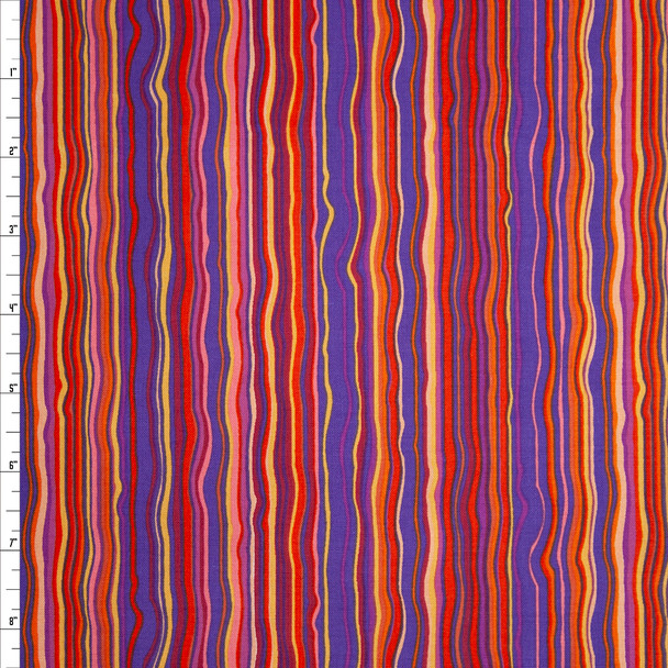 Rhapsody Vertical Squiggle Stripe Purple Quilter's Cotton Print from Boundless Fabrics Fabric By The Yard