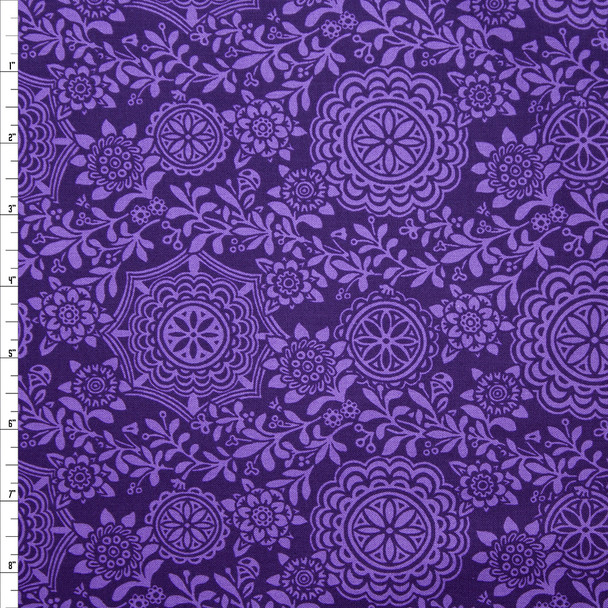 Rhapsody Medallion Plum Quilter's Cotton Print from Boundless Fabrics Fabric By The Yard