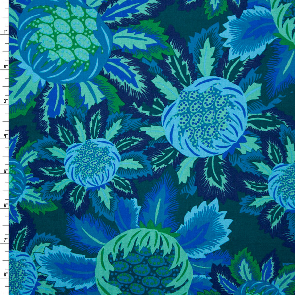 Rhapsody Large Floral Emerald and Aqua Quilter's Cotton Print from Boundless Fabrics Fabric By The Yard