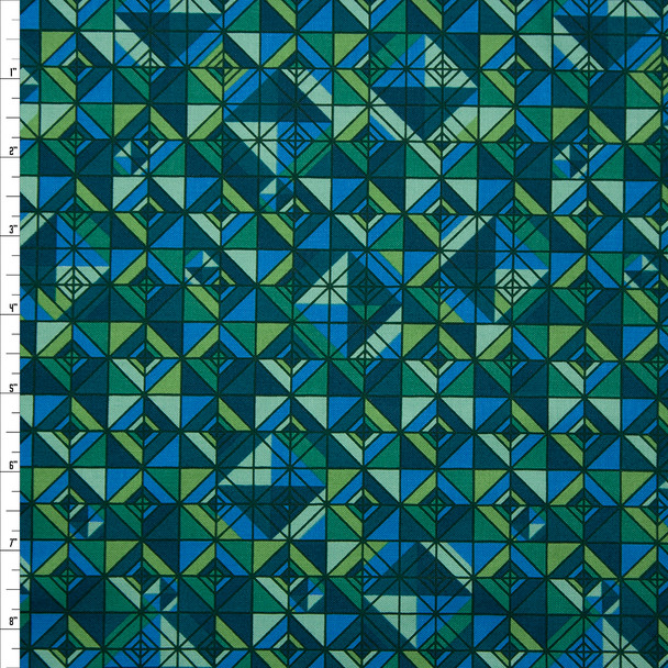 Rhapsody Geometric Emerald and Teal Quilter's Cotton Print from Boundless Fabrics Fabric By The Yard