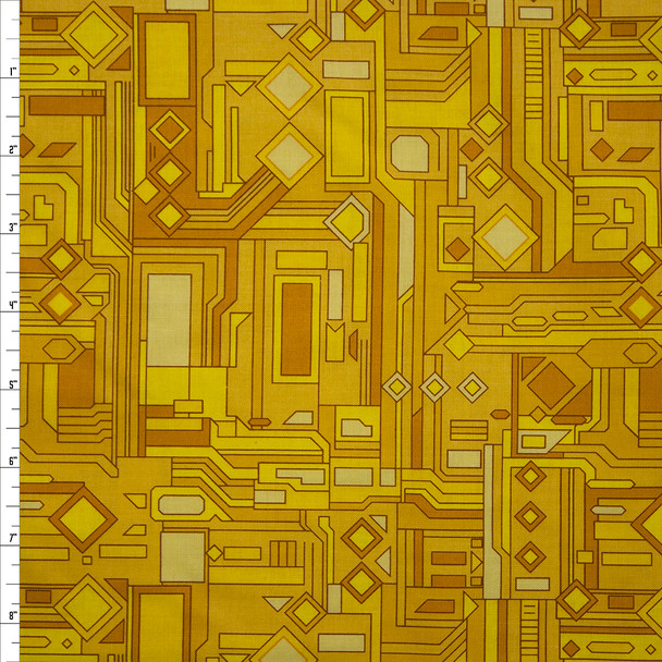 Fractals Yellow Quilter's Cotton Print from Boundless Fabrics Fabric By The Yard