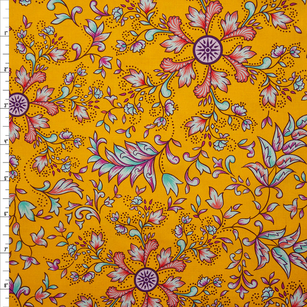 Mythic Floral Mango Quilter's Cotton Print from Boundless Fabrics Fabric By The Yard