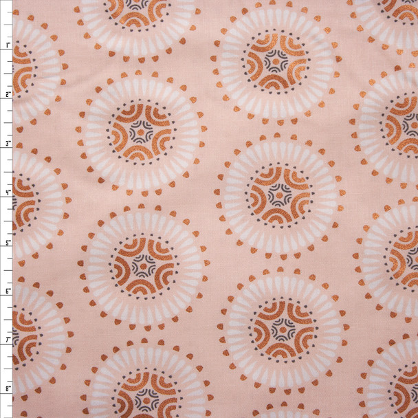 Via Metallic Copper and Blush Medallions Quilter's Cotton Print from Boundless Fabrics Fabric By The Yard