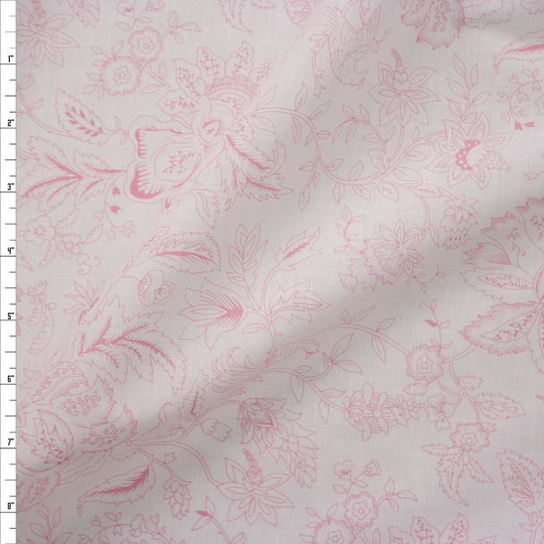 Pink on White Delicate Floral Cotton Poplin Fabric By The Yard