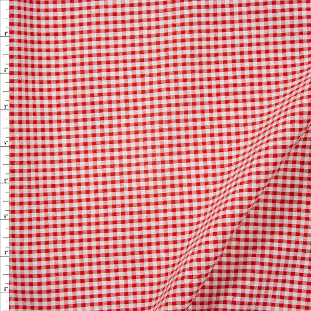 """Red and White 1/8"""" Gingham Seersucker Fabric By The Yard"""