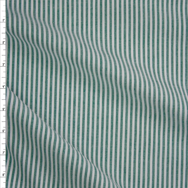 """Emerald Green and White 1/8"""" Stripe Seersucker Fabric By The Yard"""