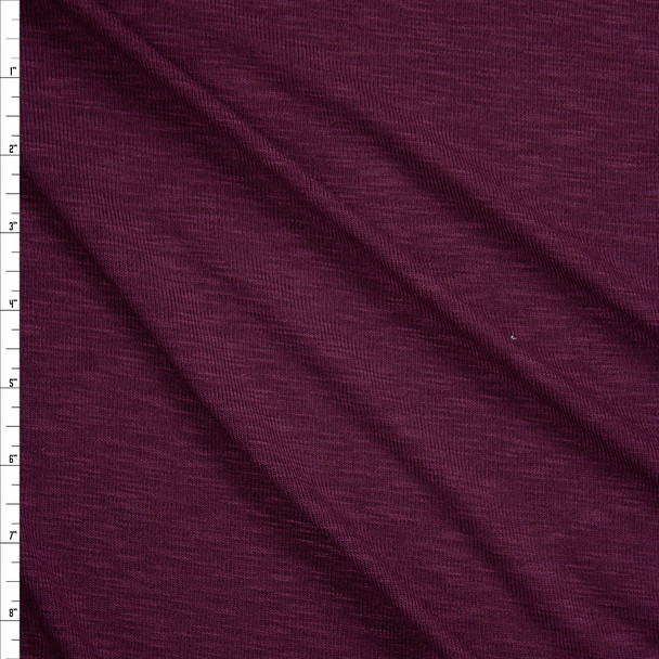 Plum Slubbed Stretch Sweater Knit Fabric By The Yard