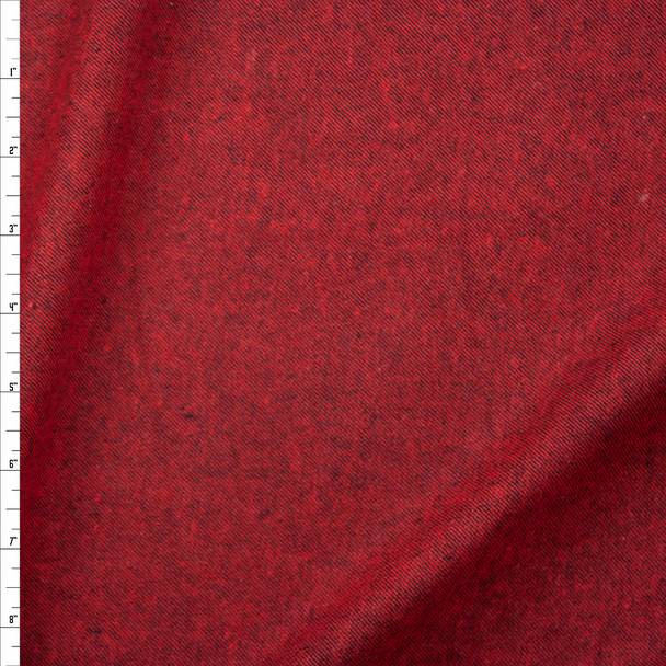 Red and Black Twill Weave Midweight Flannel Fabric By The Yard