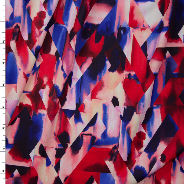Red, Blue, and Pink Prismatic Chevron Nylon/Spandex Fabric By The Yard