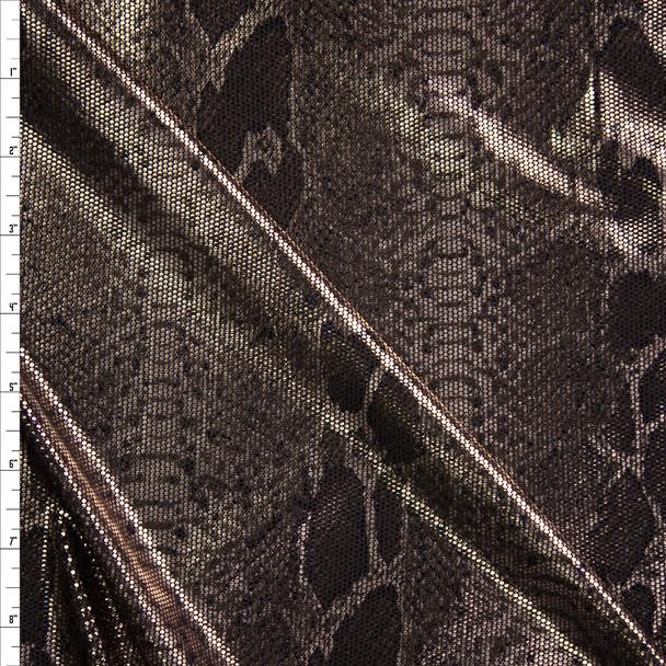 Light Gold Metallic Snakeskin on Black Nylon/Spandex Fabric By The Yard