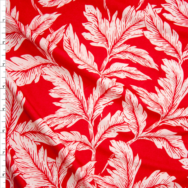 White Leafy Branches on Bright Red Double Brushed Poly/Spandex Knit Fabric By The Yard