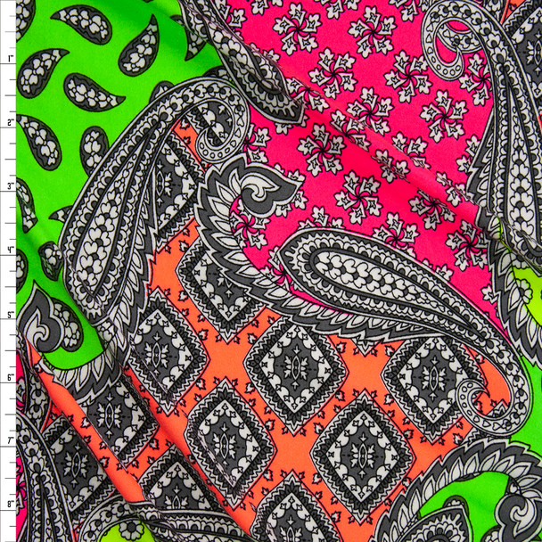 Neon Paisley Patchwork Double Brushed Poly/Spandex Knit Fabric By The Yard