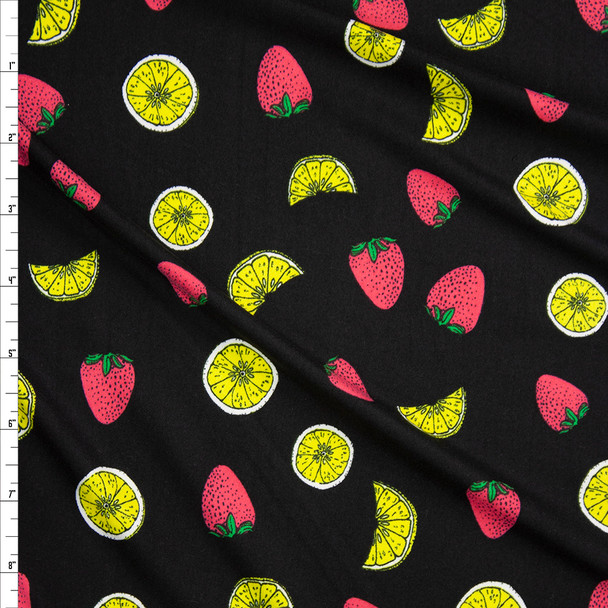 Strawberries and Lemon Slices on Black Double Brushed Poly/Spandex Knit Fabric By The Yard