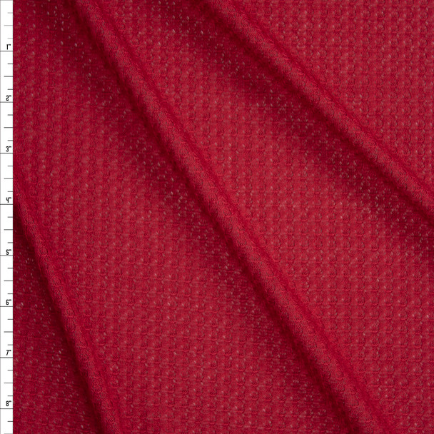 Cherry Red Soft Waffle Knit Fabric By The Yard