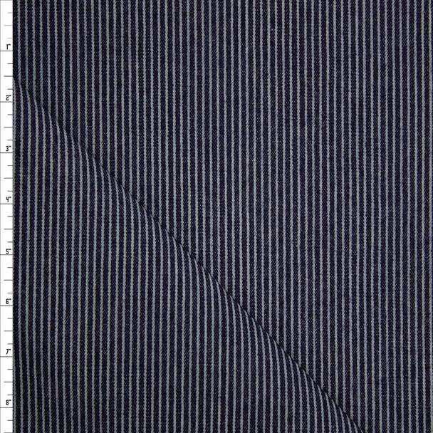 Vertical Railroad Stripe Heavyweight Denim Fabric By The Yard