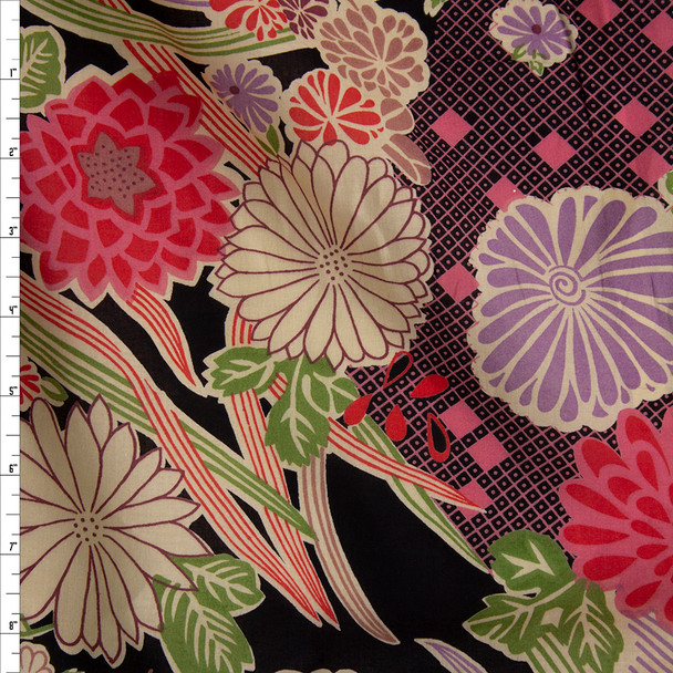 Red, Ivory, Purple, Wine, and Avocado Retro Floral on Black Cotton Lawn Fabric By The Yard