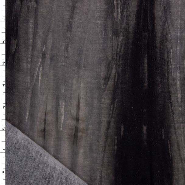 Black and Charcoal Tie Dye Soft Sweatshirt Fleece Fabric By The Yard