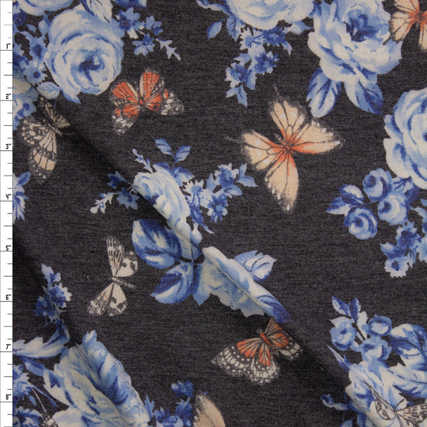 Butterflies on Light Blue and Charcoal Floral Stretch Rayon French Terry Fabric By The Yard
