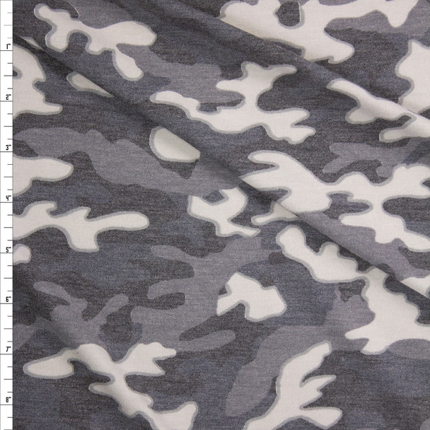 Light Grey Camouflage Stretch Rayon French Terry Fabric By The Yard