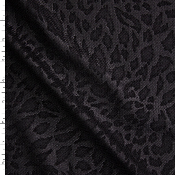 Black on Black Semi Glossy Leopard Bullet Liverpool Knit Fabric By The Yard