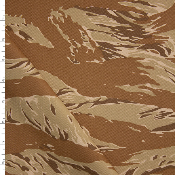 Tan Torn Style Camo Cotton Twill Fabric By The Yard