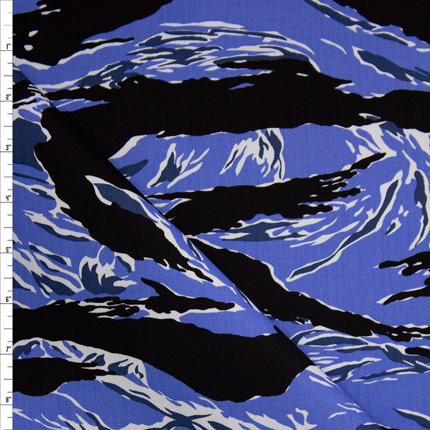 Blue Torn Style Camo Cotton Twill Fabric By The Yard