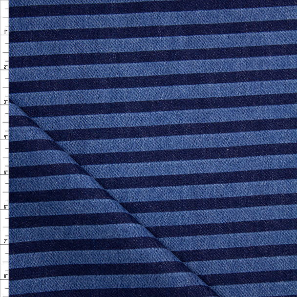 Indigo and Medium Blue Horizontal Stripe Heavy Denim Fabric By The Yard