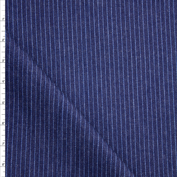 Light Blue on Indigo Vertical Stripe Heavy Denim Fabric By The Yard