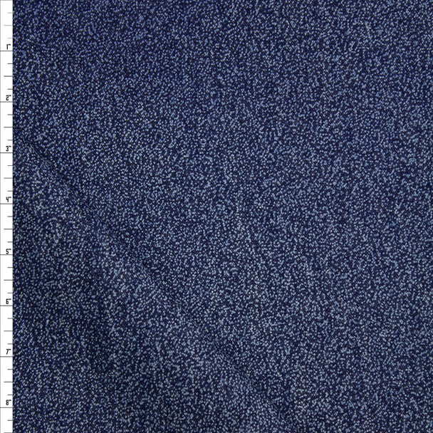 White Speckles on Indigo Midweight Denim Fabric By The Yard
