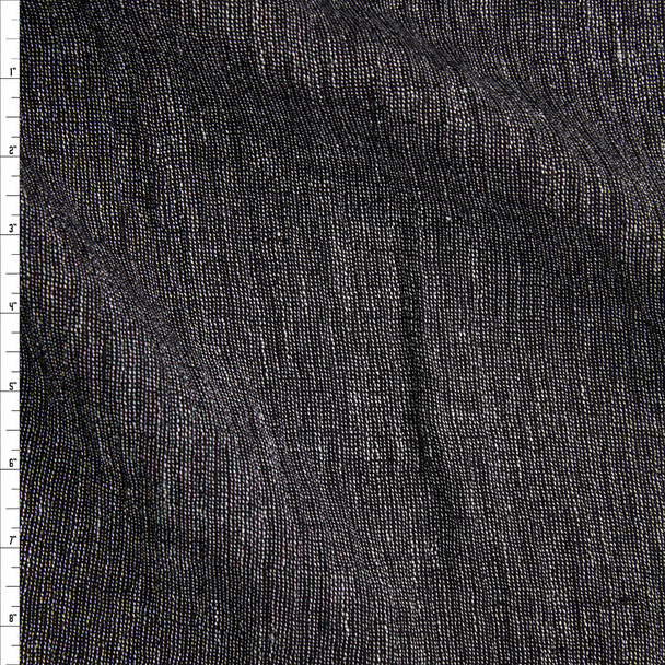 Black and White Designer Lined Linen Gauze Fabric By The Yard