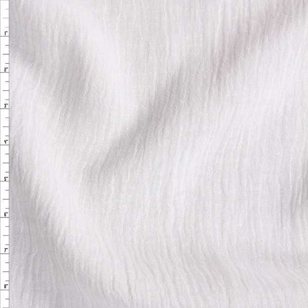 White Designer Linen Gauze Fabric By The Yard