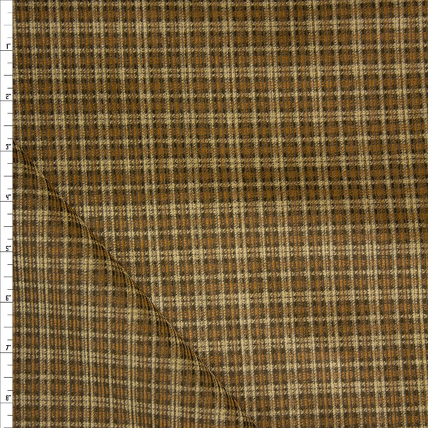 Tan and Caramel Plaid Midweight Corduroy Fabric By The Yard