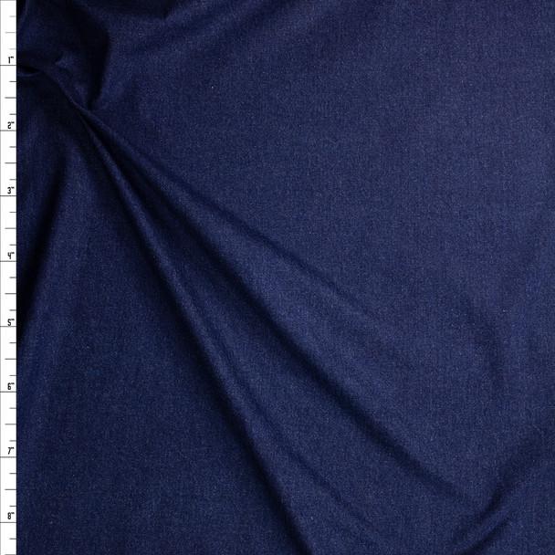 Deep Indigo Blue Washed Denim Fabric By The Yard
