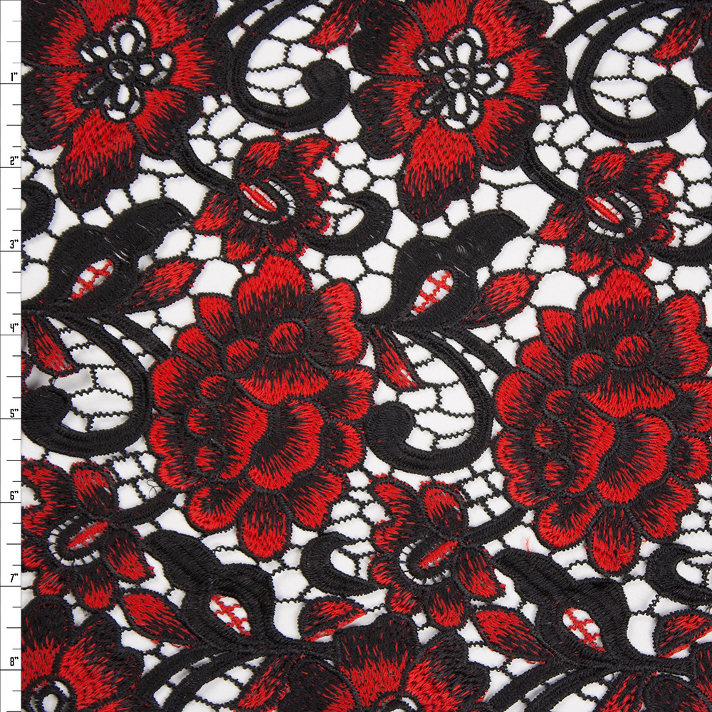 Cali Fabrics Black And Red Flowers And Scrollwork Designer