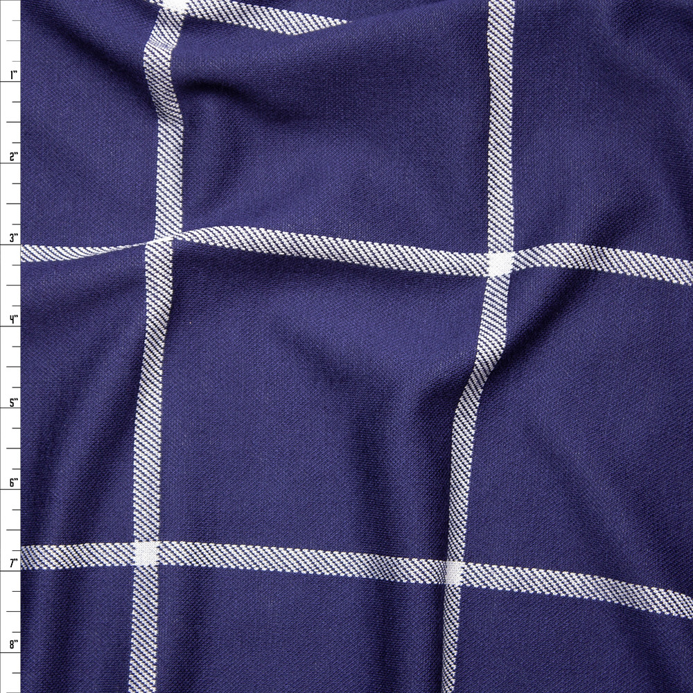 0b99bff58ba Navy and White Large Windowpane Check Stretch Double Knit Fabric By The  Yard ...