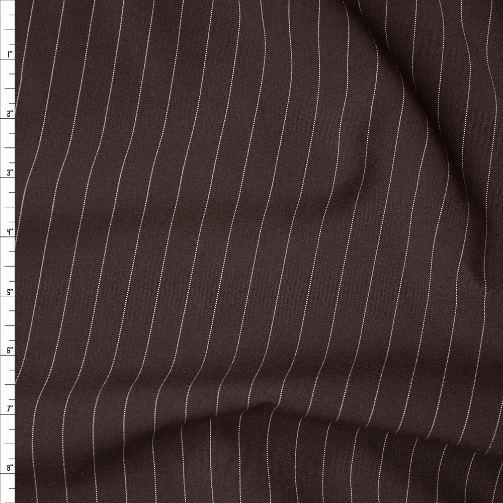 Cali Fabrics White On Brown Vertical Pinstripe Midweight