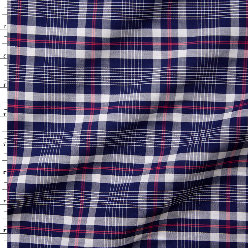 26b4b07a9e7 Blue, White, and Red Plaid Fine Cotton Shirting