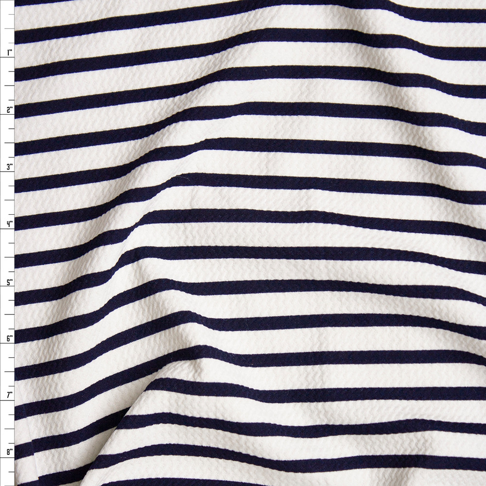 c7aec0fc49 Navy on Offwhite Pencil Stripe Bullet Textured Liverpool Knit Fabric By The  Yard ...