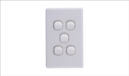 Five Gang Two Way Switch 16Amp Vertical 10 Pack